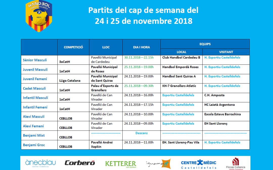 Partits del cap de setmana del 24 i 25 de novembre