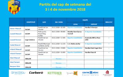 Partits del cap del setmana del 3 i 4 de novembre