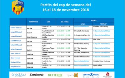Partits del cap de setmana del 16 al 18 de novembre