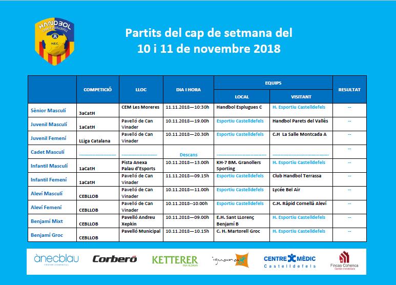 Agenda partits 10 i 11 de novembre