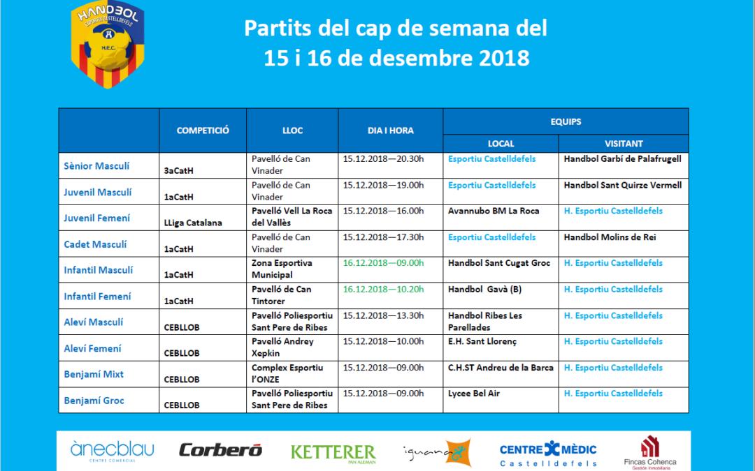 Partits del cap del setmana del 15 i 16 de desembre