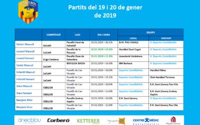 Partits del cap de setmana del 19 i 20 de gener