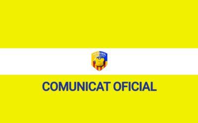 Comunicat d'ajornament de la competició i suspensió de entrenaments