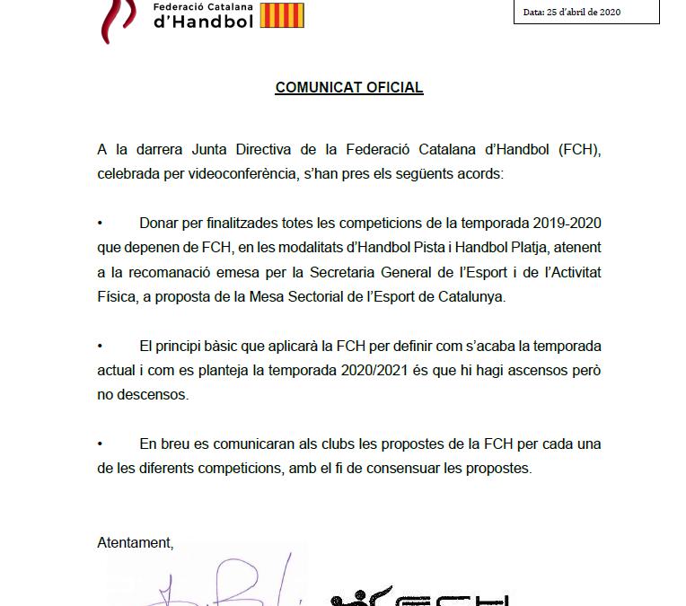 La FCH dóna per acabada temporada 2019/2020