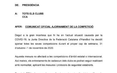 La Federació decideix ajornar la competició del proper cap de setmana